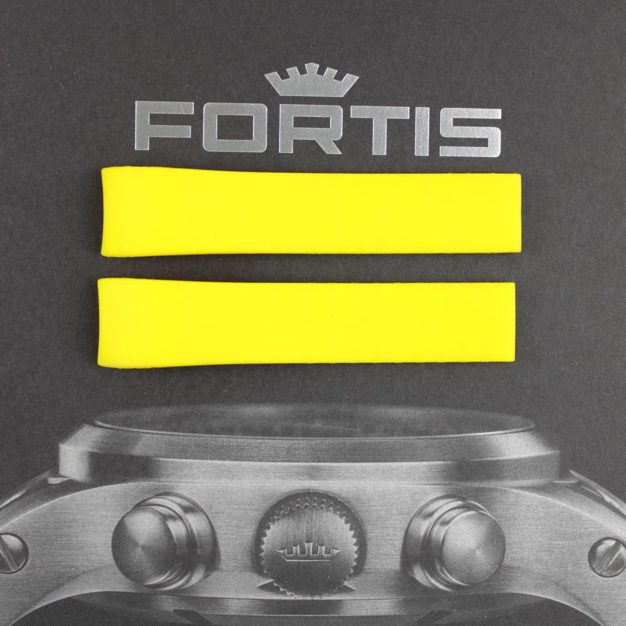 Fortis Spacematic Silikonband mit integrierten Anstoß gelb