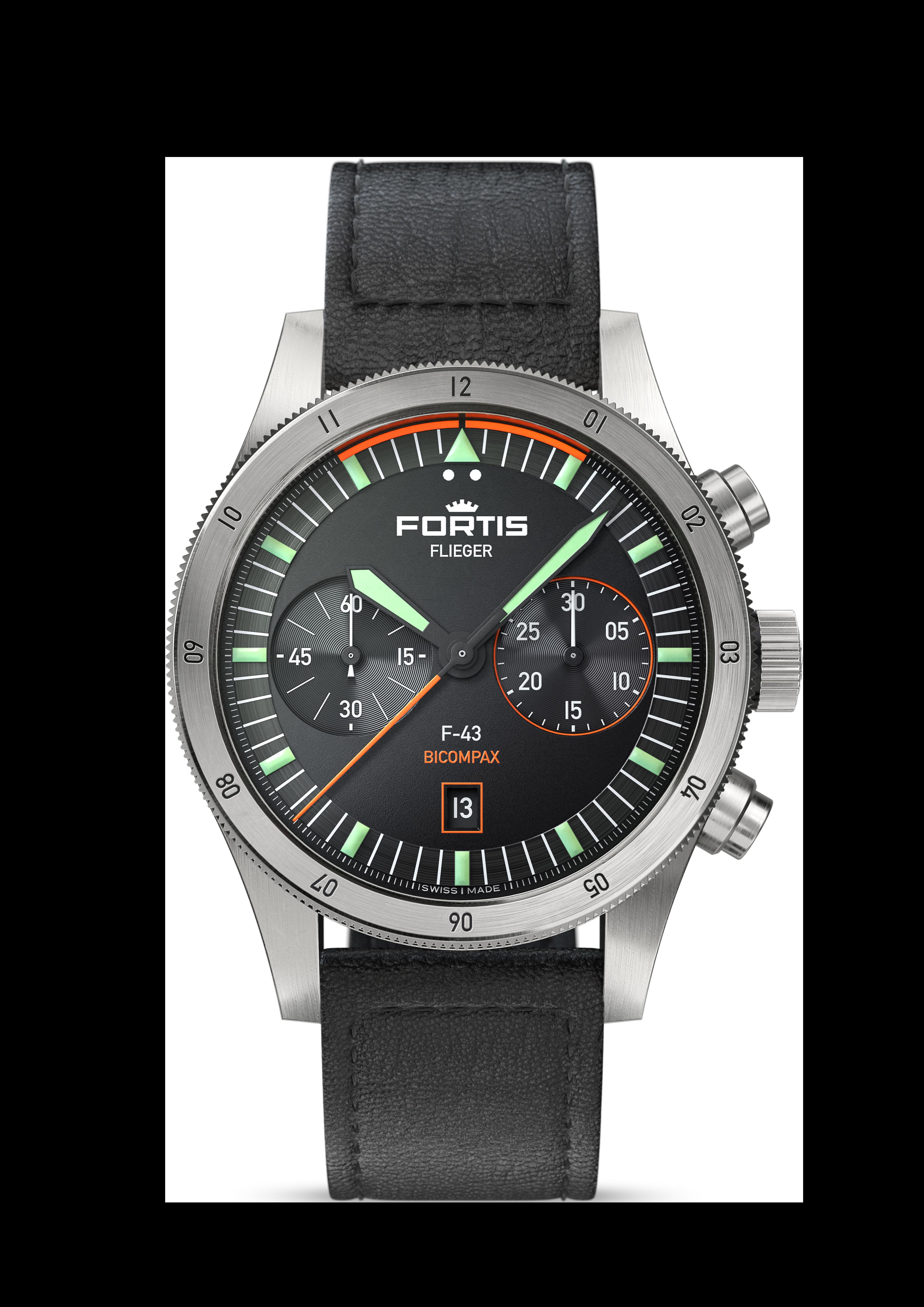 Fortis FLIEGER F-43 BICOMPAX, Ref. F.424.0005_Lederband