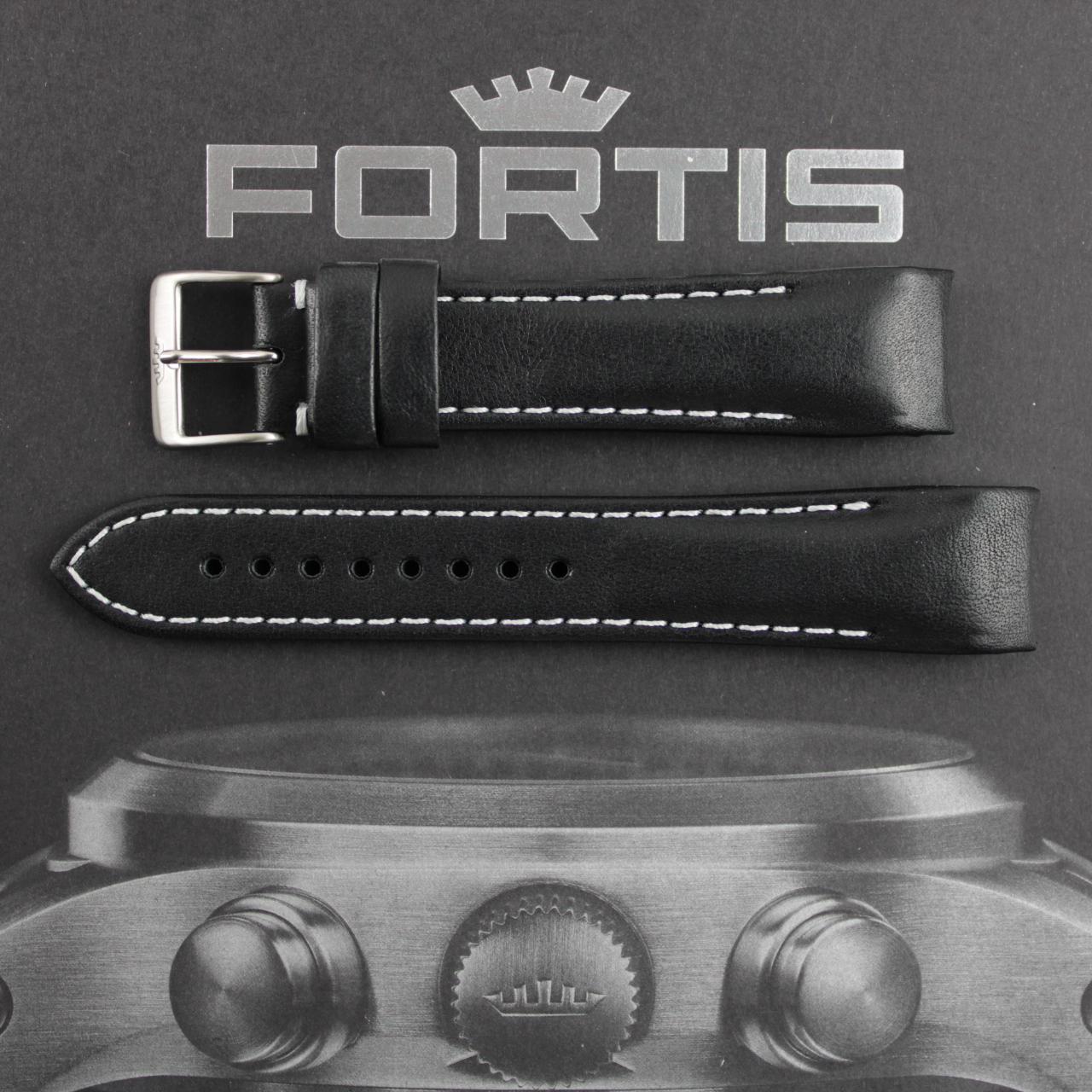 Fortis B-42/ F-43 Integriertes schwarzes Lederband mit weisser Kontrastnaht