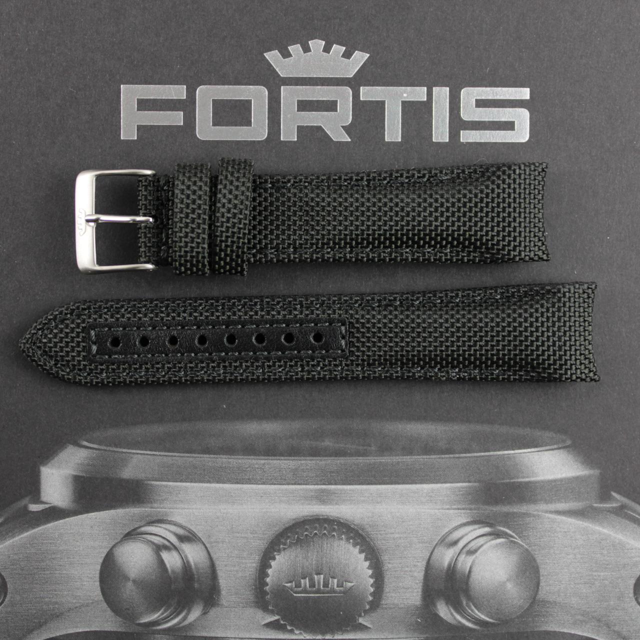 Fortis B-42/ F-43 Integriertes schwarzes CorduraBand Extralang mit schwarzer Kontrastnaht