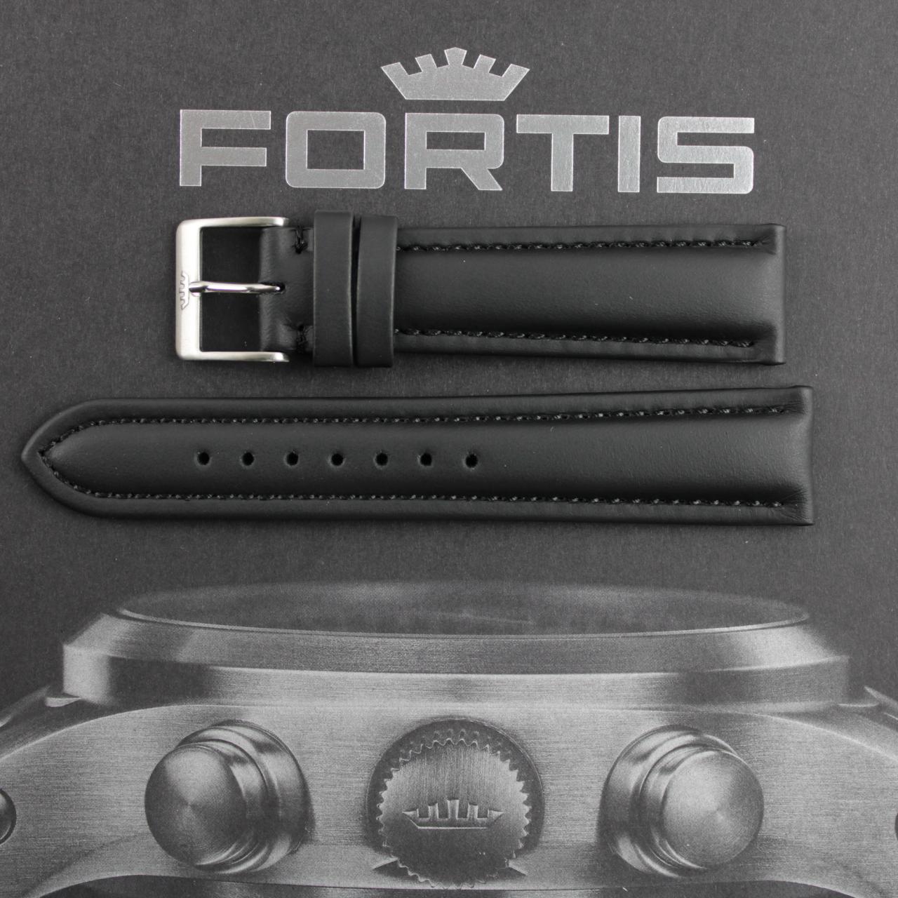 Fortis Lederband schwarz mit schwarzer Kontrastnaht.