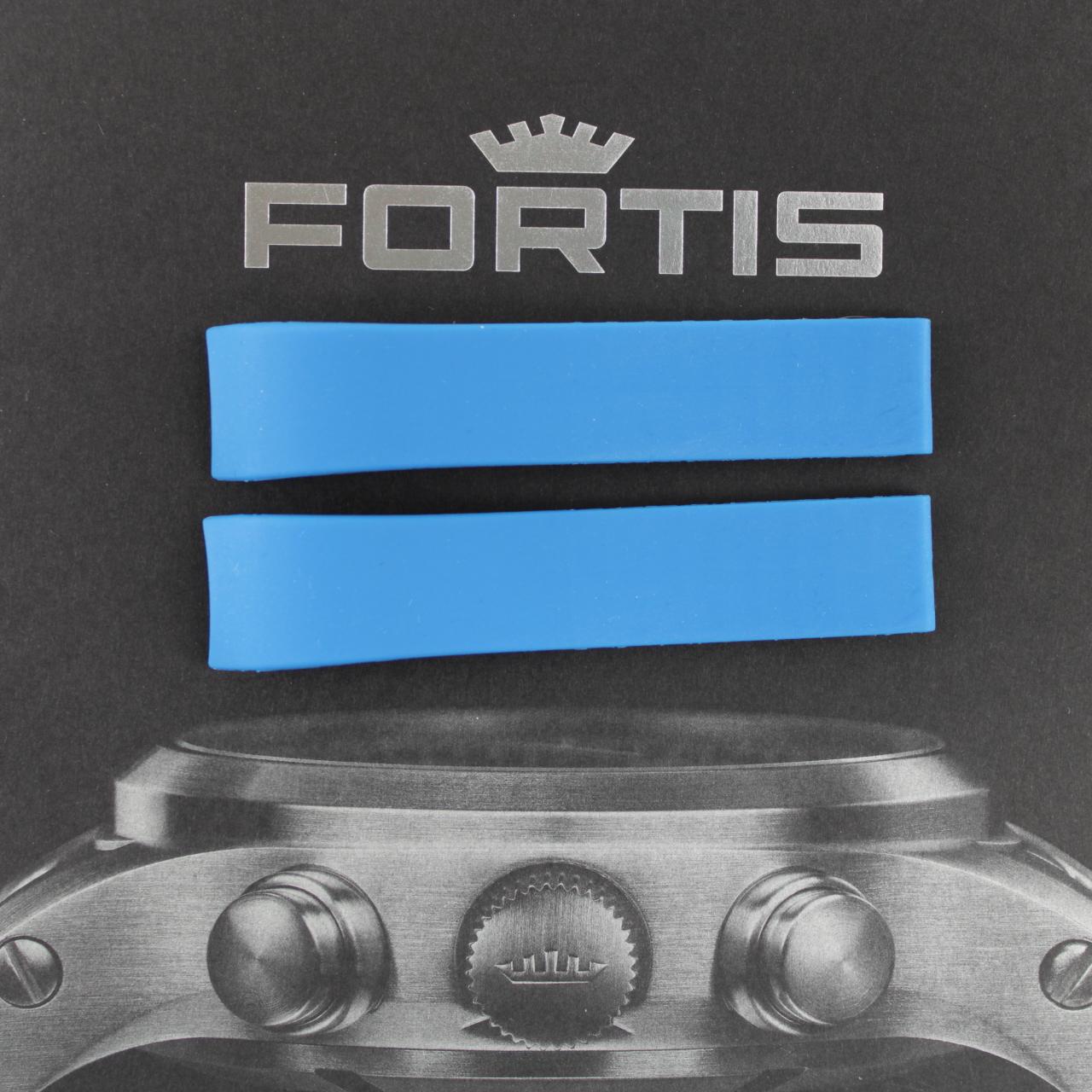 Fortis Spacematic Silikonband mit integrierten Anstoß blau